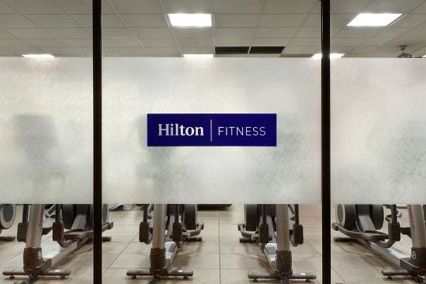 Chicago O'Hare Hilton Fitness Center Privacy with Logo